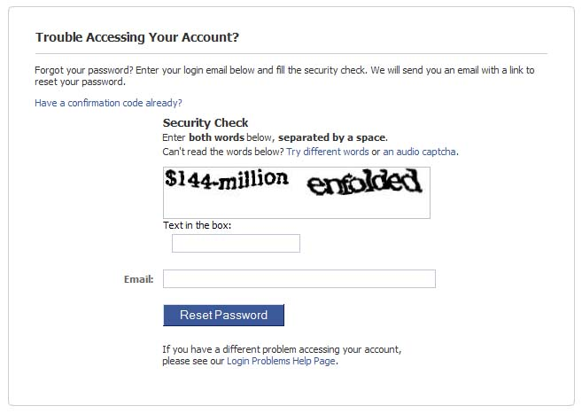 Facebook's password reset form