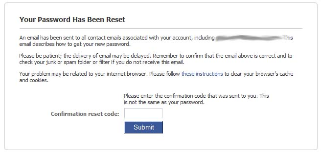 The Facebook password reset confirmation page