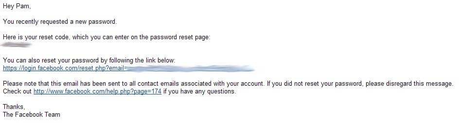 The password reset email