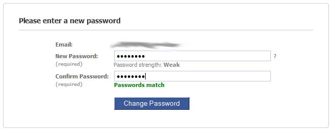 The password reset page