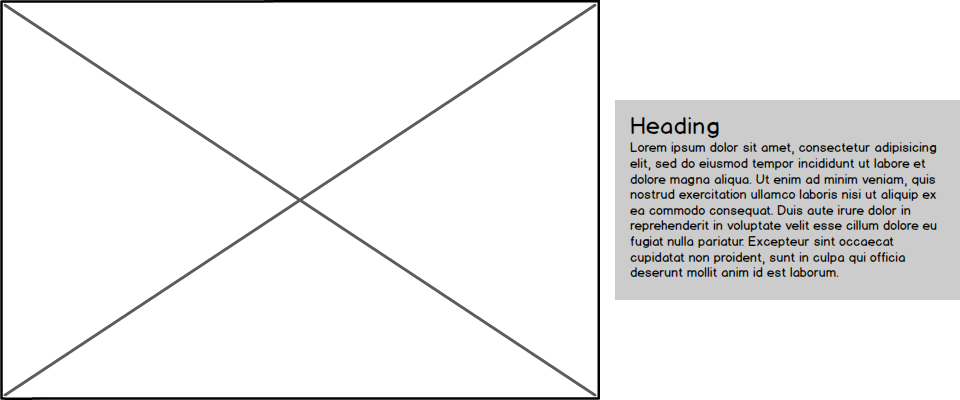 Wireframe with image on left and text on right